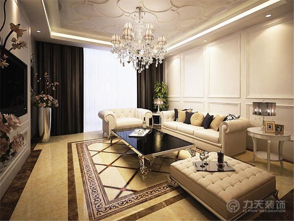 在客厅区域顶面采用石膏线吊顶并有灯带造型的设计增加了顶面空间的层次感,中间放置了一盏适合整个空间的浪漫的欧式水晶灯。沙发背景墙是有简单造型的素雅浪漫的白色烤漆饰面板装饰。
