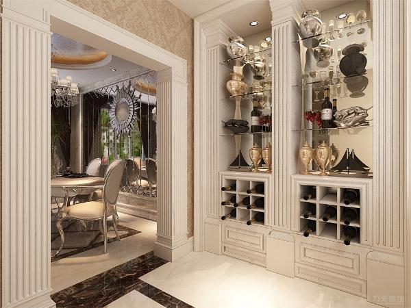 入户门过道的顶面设计为两个小回字形吊顶,卧室则只使用了石膏线的装饰点缀出欧式的风格。