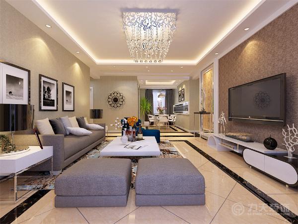 客厅区域电视背景墙采用两侧石膏板与灰镜以及文化石,中间石膏板圈边搭配素色壁纸的造型为主,沙发背景墙以简单的现代挂画加以装饰,地面铺800*800的米黄色地砖。