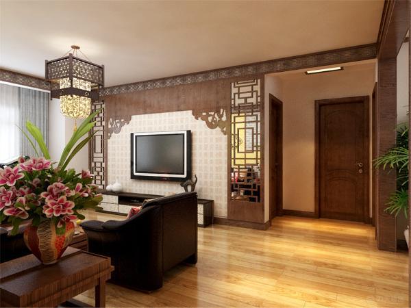 客厅电视背景墙采用AB板模式,中间运用实木线条线做的造型,配上双色壁纸,美观大方。