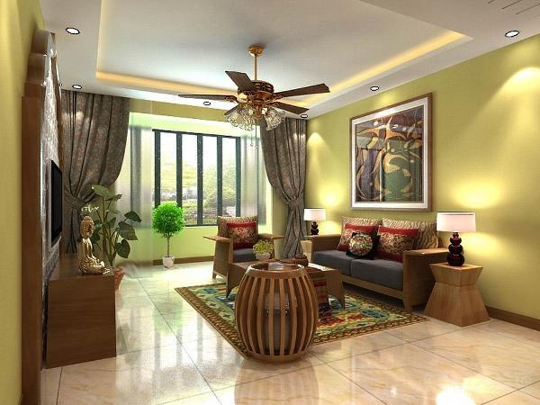 电视背景墙用了东南亚特有木质线条元素来装饰中间用了镂空花格装饰。使空间一下子丰富起来。在客厅的家具上选择了藤制家具以及布艺装饰,取材以实木为主,主要以柚木的家具。