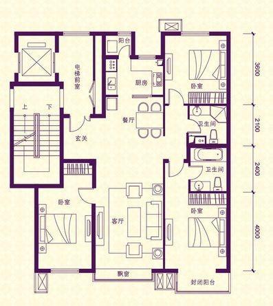 首城汇景湾3-T户型 3室2厅2卫户型图