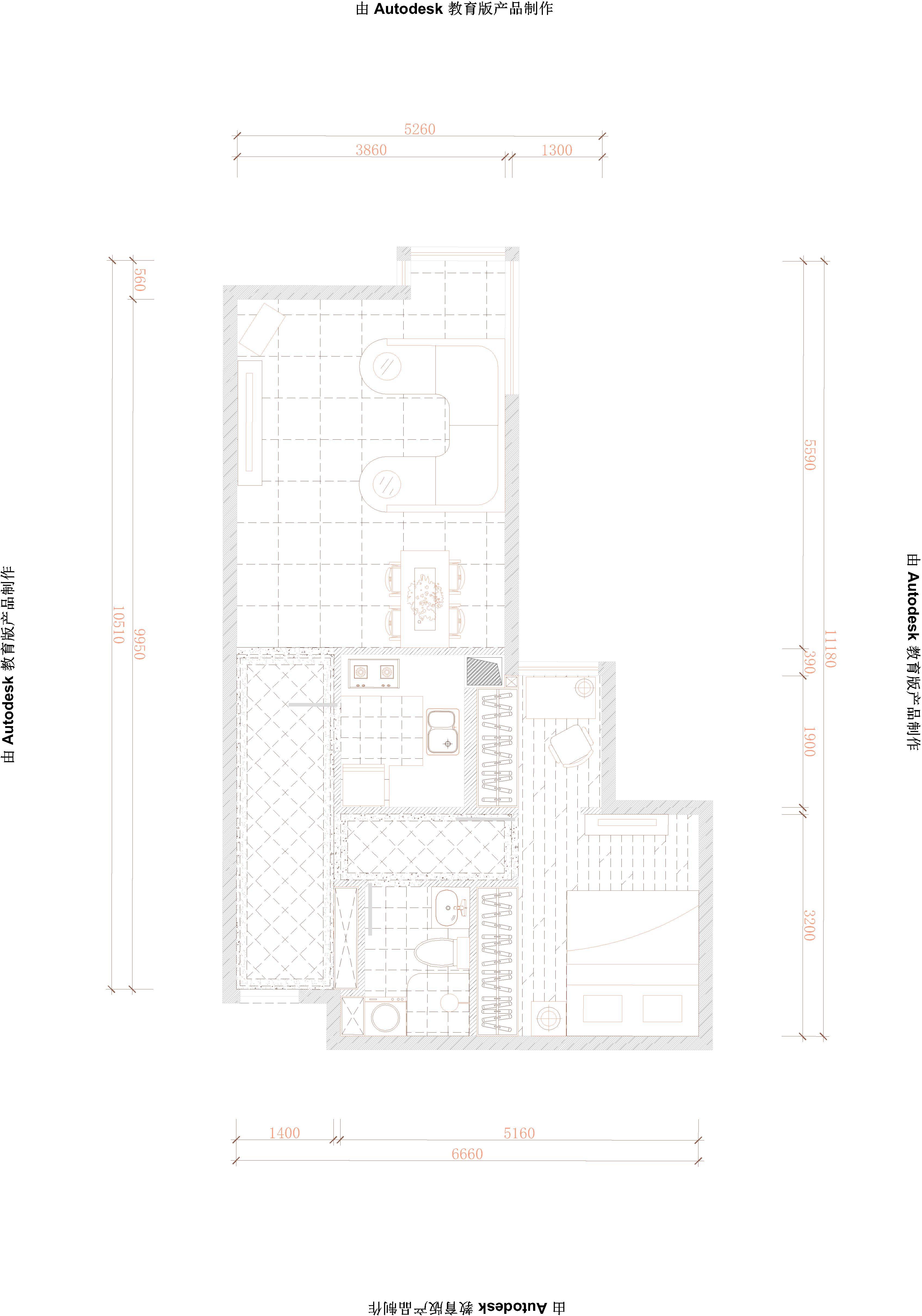 简约 欧式 一居 户型图图片来自轻舟装饰-90后的华仔在北苑家园-66平米-简欧风格的分享