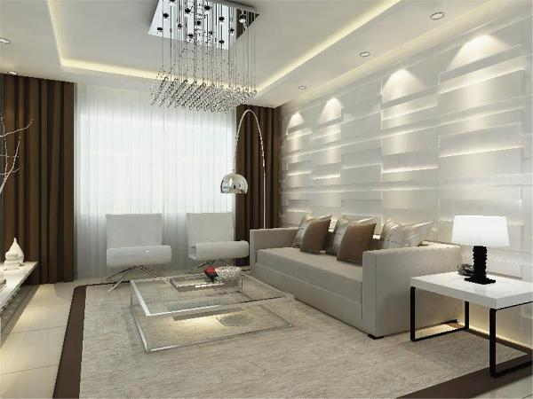 整个房间以简洁白色为主。客厅采用回字型的吊顶加上筒灯,整个房间采用黑色的踢脚线以及白色大理石地砖,电视与沙发都采用了工艺试的背景墙,厨房与餐厅在一起采用了平顶以及浅色的地砖与墙砖
