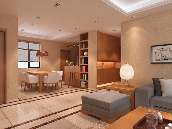 木质构架搭配布艺装饰体现新中式风格。