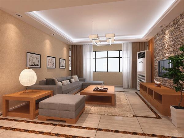 """客厅以""""回""""型做顶,表现中国人习惯的的天方地圆之说。木质构架搭配布艺装饰体现新中式风格。"""