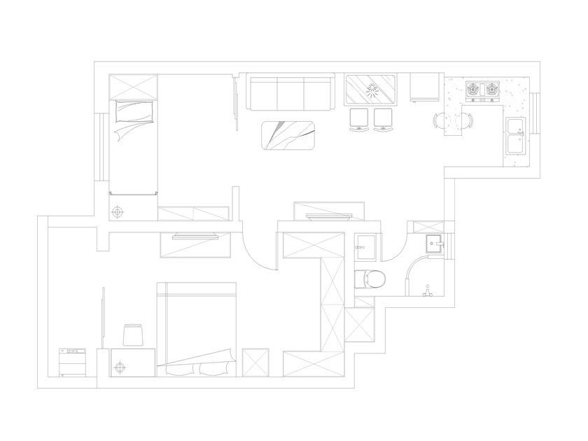 简约 混搭 二居 白领 收纳 旧房改造 80后 小资 户型图图片来自孙进进在两居64㎡后现代--实用小户型的分享