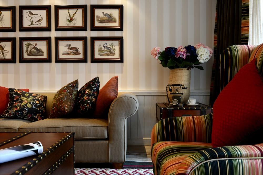 复式 美式 大气 客厅图片来自九鼎建筑装饰工程有限公司成都分在绿地锦天府复式住宅美式风格的分享