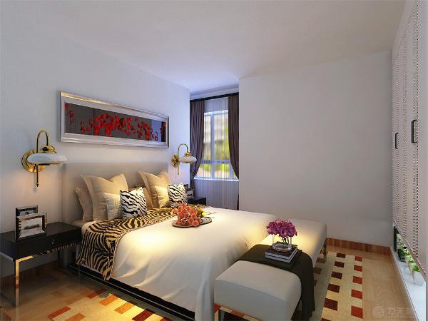 整个起居室是以暖色为主。既趋于现代实用,又明亮大方的特征。主卧的床头背景墙是用画为主,墙体是以白色乳胶漆为主。