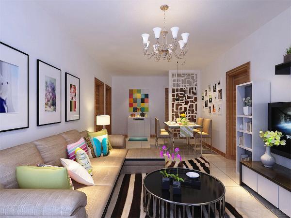 沙发背景墙是以画为主,整个空间的软装都是以咖色为主,客餐厅吊顶则是原顶,彰显了极简主义的特点。