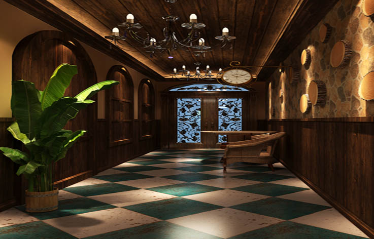 装修 设计 田园 别墅 玄关图片来自张邯在高度国际-达观别墅的分享