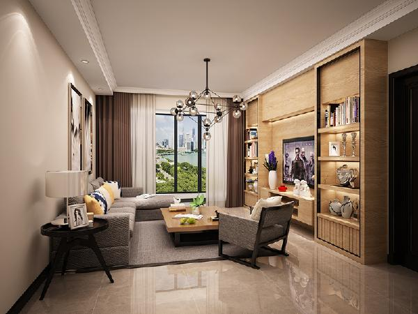 客厅 设计师做了一个造型相对复杂的电视背景墙,为避免浮夸选用了朴实的原木色,材质与造型都有一点日式的元素在里面,最重要的是,满足了客厅的储物盒展示的需求。