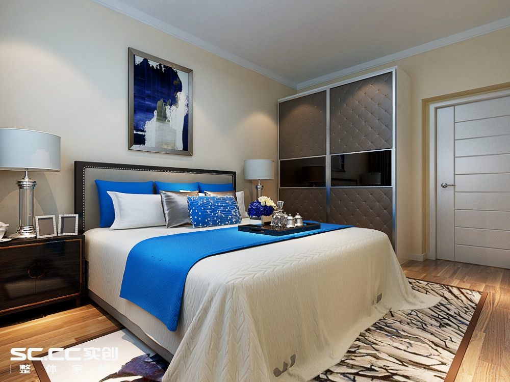 二居 简约 卧室图片来自哈尔滨实创装饰阿娇在江北万达旅游城88平现代简约两居的分享