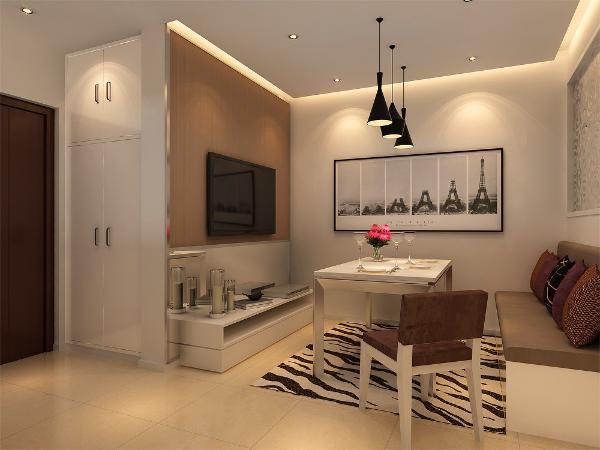 改造后的客厅,不具备放置餐桌的空间,考虑到普通茶几过于低矮,不利于用餐使用,因此把利用卡座代替传统的沙发,用餐桌代替茶几,使客厅能一厅两用。电视背景墙,采用不锈钢和素色壁纸的元素,体现了时尚现代感。