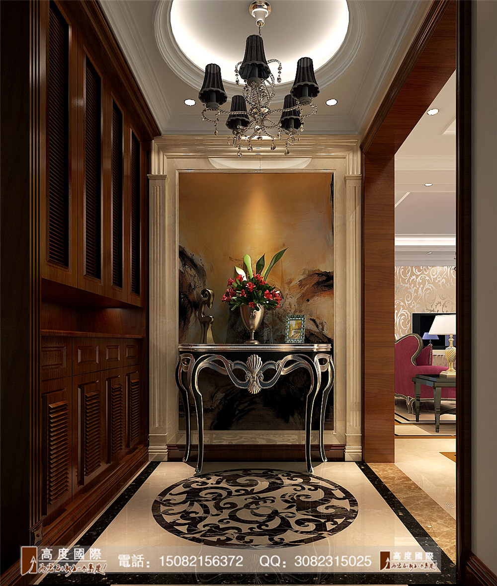 欧式风格 高度国际 成都装修 别墅装修 玄关图片来自成都高端别墅装修瑞瑞在简欧风情----成都高度国际装饰的分享