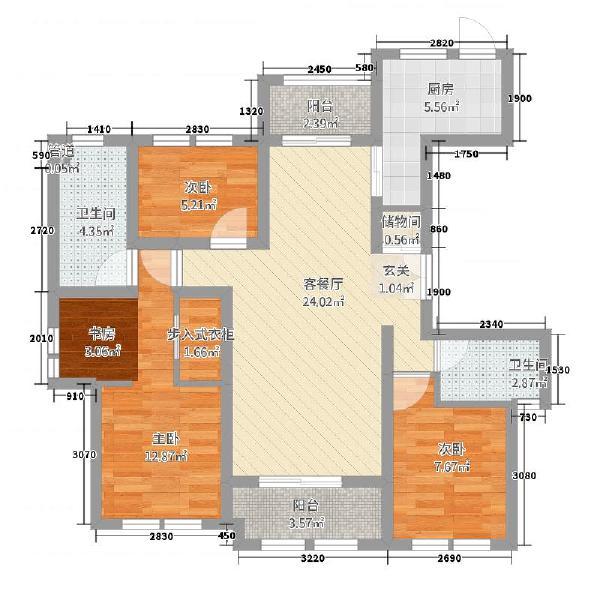 冠城大通百旺府三室两厅两卫户型图