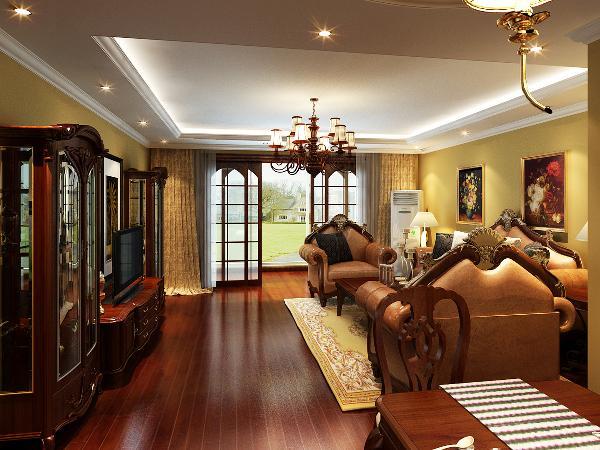 客厅:主要集中西方元素的融合,古典的沙发及装饰画使整个客厅显出欧式的华贵。