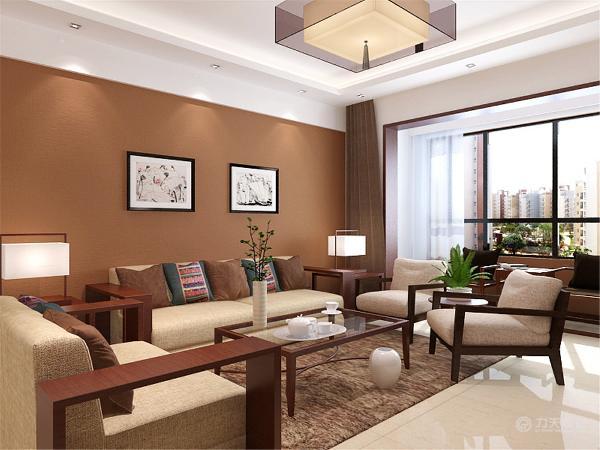客厅的沙发采用木质沙发,软靠背及坐垫,更加的时尚舒适。回字形吊顶,装点空间,划分功能区间。