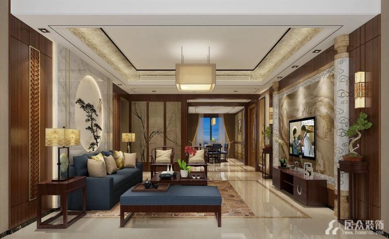 中式 四居 典雅 客厅图片来自惠州居众装饰在天地源-中式风格-167㎡的分享