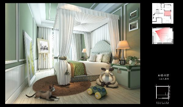 儿童房采用的绿色,均不似公共空间的艳丽,更符合睡眠空间,可见设计师因地制宜的设计手法。