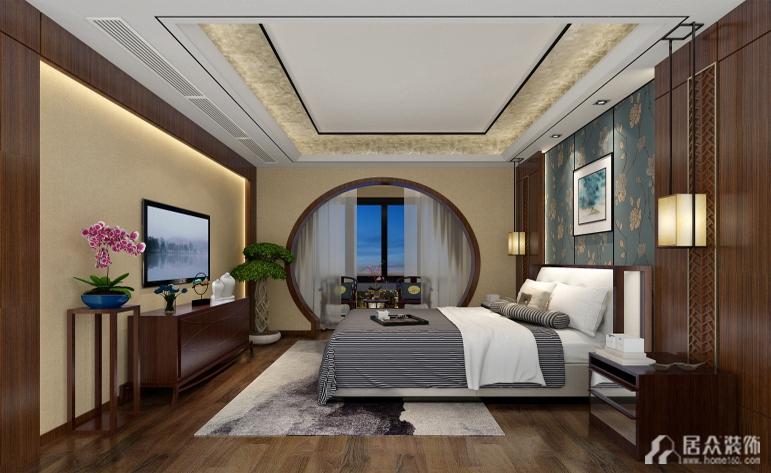 中式 四居 典雅 卧室图片来自惠州居众装饰在天地源-中式风格-167㎡的分享