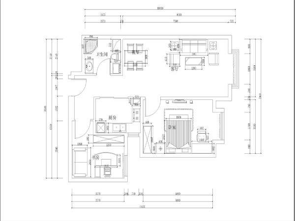 该户户型为宝能城小高层标准层A2户型2室2厅75平米,业主为新婚夫妇。两人均从事银行工作,所以要求该户型风格为现代简约风格。该户型南北通透,采光较好。
