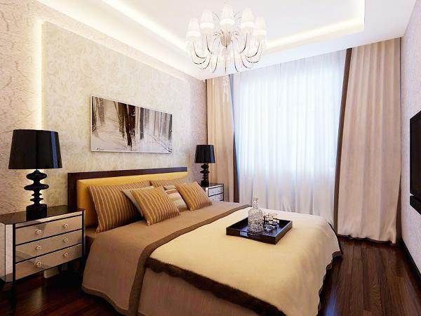 卧室也是本着简洁明快的现代感来装修,吊顶部分,和床头部分做一些简洁造型,和灯带造型做为映衬,使人在卧室空间得到身心放松,并紧跟着时尚的步伐,也满足了人的生活乐趣。