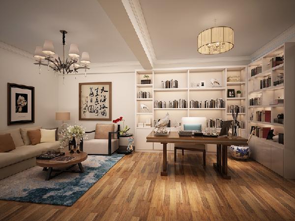 书房 书房宽敞任性,书柜设计作为墙面处理中最出彩的一部分,看上去就是个有文化的业主啊。