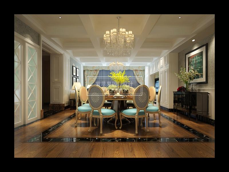 新古典 餐厅图片来自紫苹果国际设计在270㎡新古典装修效果图案例的分享