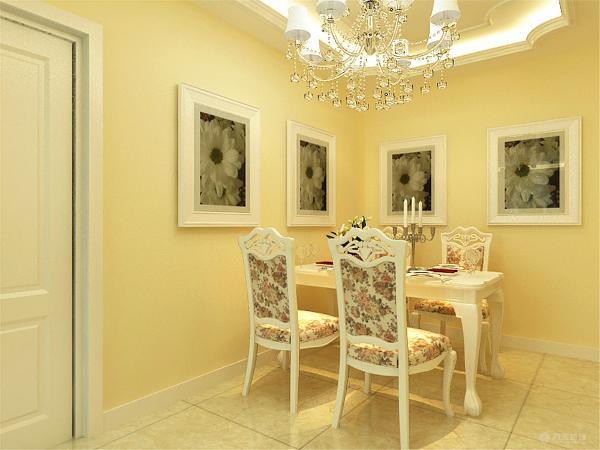 餐过厅放了四人餐桌,餐椅也是布艺碎花的,与整个空间融为一体,餐厅没有做过多的装饰,在两边墙面上挂了装饰画