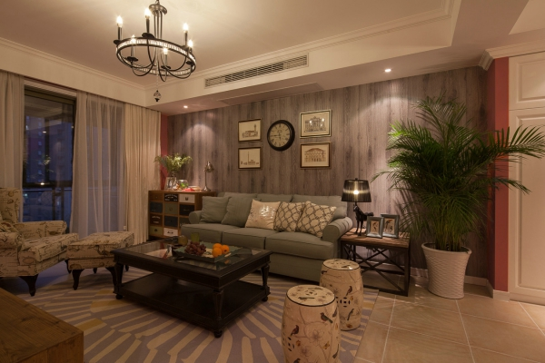E家E户装饰 二居 金地自在城 白领 客厅图片来自武汉全有装饰在金地自在城---简美混搭风的分享