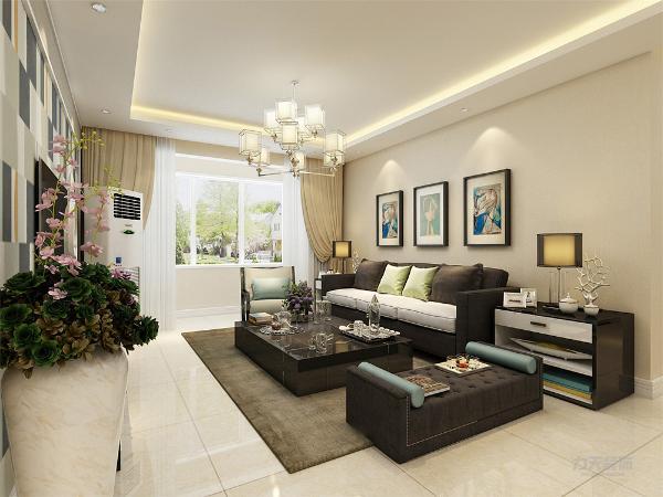 客厅由沙发、茶几的组合和电视柜组合而成,客厅空间较大,宽敞明亮,光照充足,整个客厅空间稳重大气。