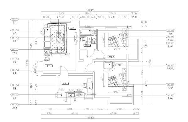 从图上看入户及时玄关顺时针看,左手是客厅,客厅整体比较规整,有利于后期做设计,且通风及采光性较好。右手是卫生间,卫生间采用了干湿隔离,方便主人的生活。
