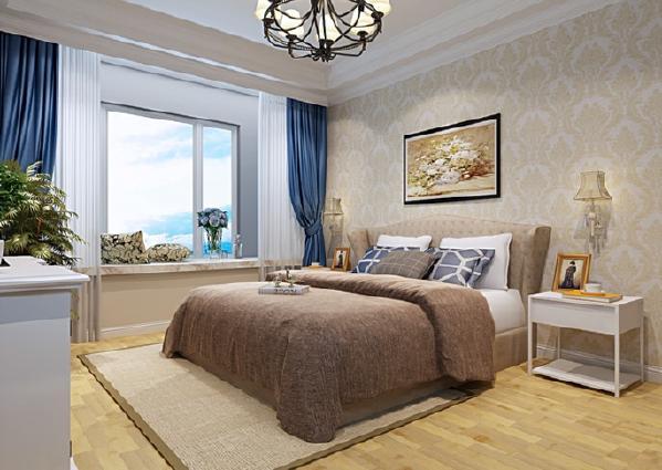 卧室使业主休息的地方,所以墙面用暖色的壁纸代替了灰蓝的墙漆,使空间显得温馨,蓝色的配饰又使卧室不失清新。