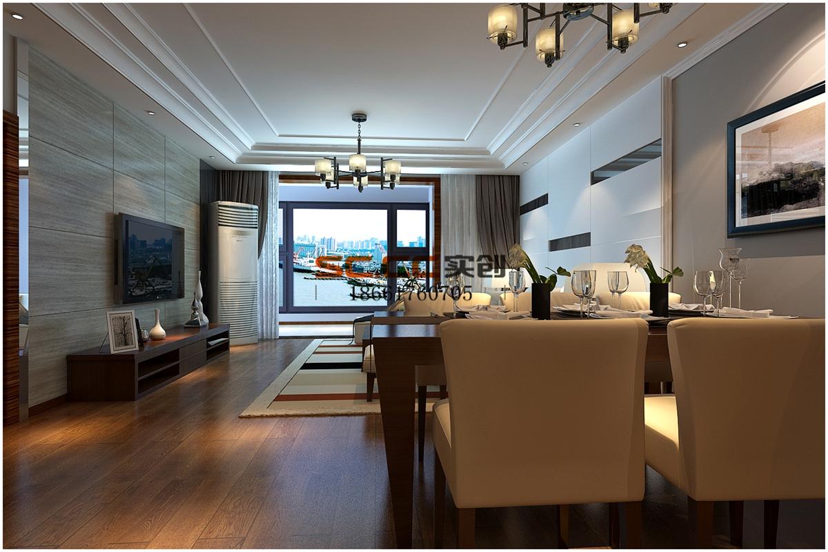 客厅 简约图片来自青岛实创装饰闪闪在千禧喜山D户-225平现代风的分享