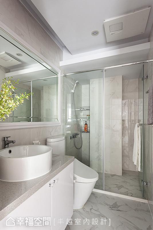 将公领域以白色调为主的风格引入,结合清波的隔间方式,营造出白皙透亮的卫浴氛围。