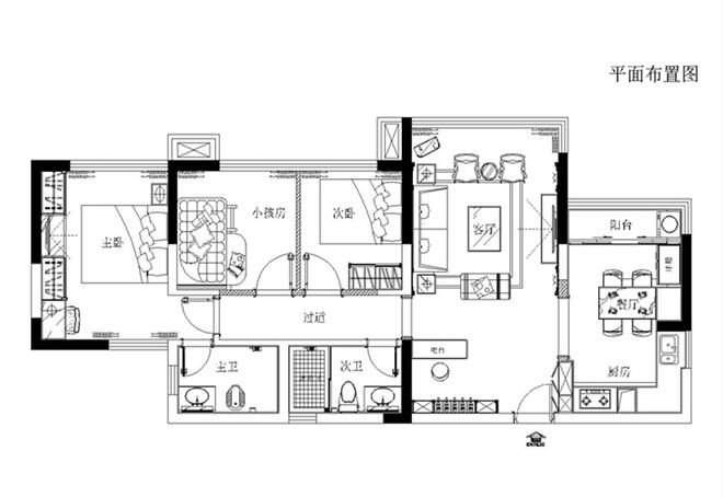 户型图图片来自大宅别墅装修设计在欧式风格装修设计丨奥北公元的分享