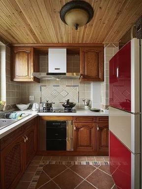 美式 地中海 混搭 二居 收纳 旧房改造 厨房图片来自沙漠雪雨在90平米美式混搭地中海浪漫婚房的分享