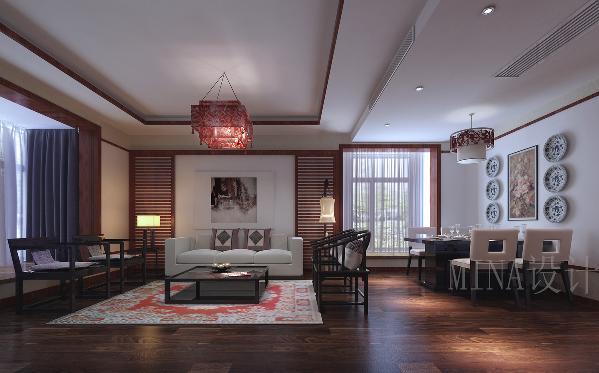 由于客厅与餐厅于一体,又带有中央空调,所以根据中央空调的位置以及餐厅的分隔确定了整个空间吊顶部分的整体格局。