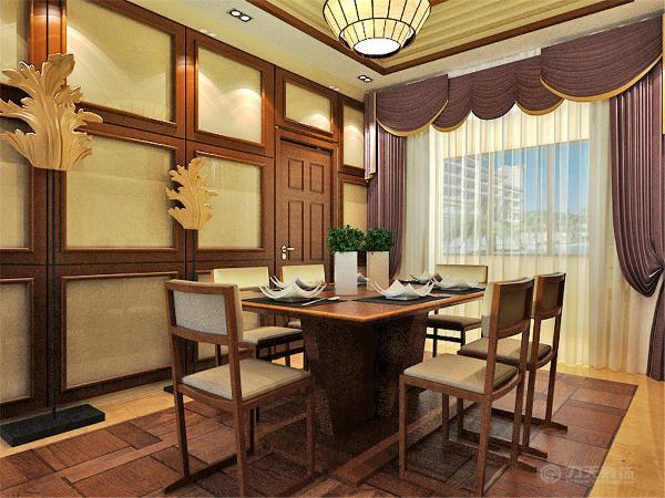 采用仿古砖铺贴地面,餐桌椅放置中间,方便就餐。两边的墙都以方框式木材装饰,增加层次感。