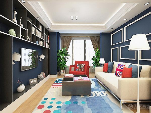 本案中的客厅餐厅及其卧室充满了英国米字旗的元素,墙壁都是国旗的蓝色,家具有国旗中的红色。