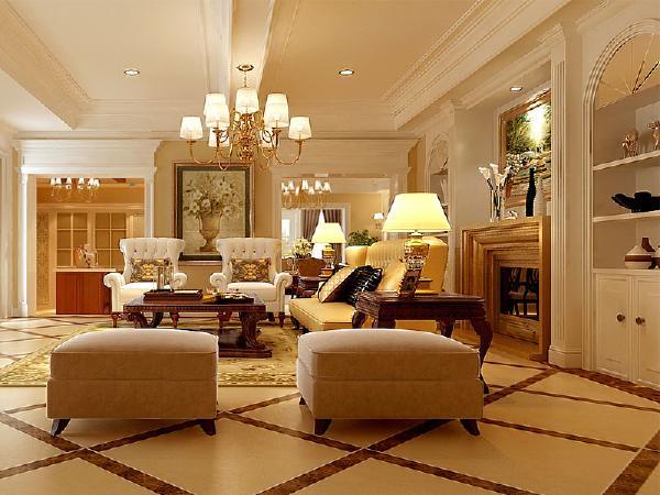 客厅吊顶简单的线条是美式与现代设计手法的结合,起到了简约又不简单的作用,地砖干净明亮,配以斜拼显得坚实浑厚,充分的显现出大厅的深邃与气派,美式的沙发整体给人以舒适温馨的感觉。