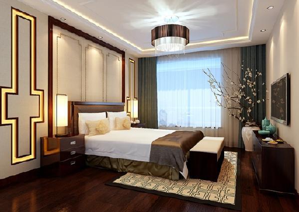 主卧空间是主人休息时最重要的地方,它的设计直接影响主人的睡眠质量,床头背景墙采用木线条与素色壁纸的结合,深浅搭配让整个空间简洁大方。