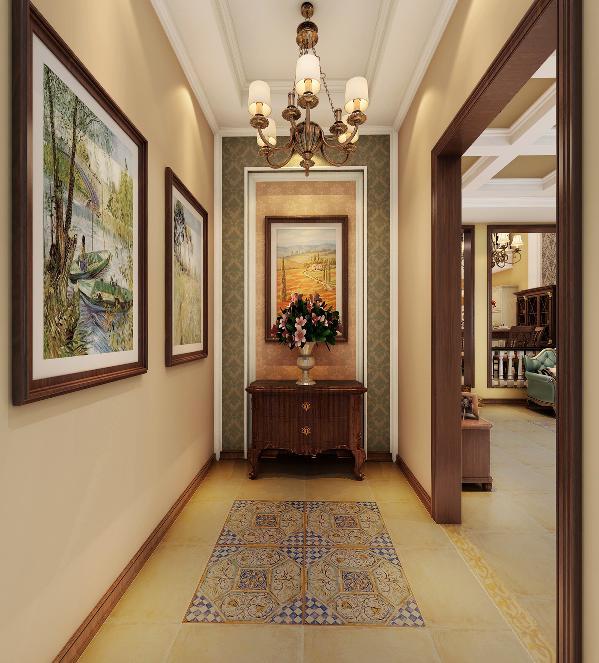 玄关的地方小,设计时只在居中地方拼了花片,没有加外圈的波打线,使空间不显得局促。