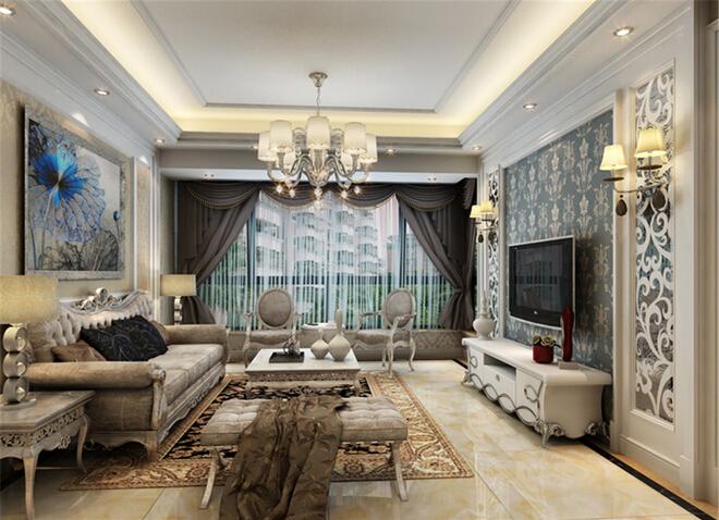 奥北公元二 欧式装修 客厅图片来自大宅别墅装修设计在欧式风格装修设计丨奥北公元的分享