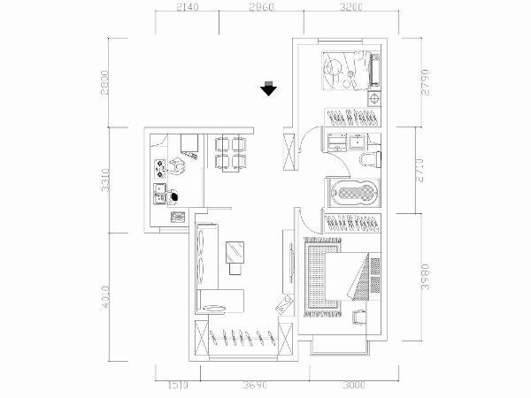 整体分析,此户型面积分配均匀合理,餐厅、厨房、客厅聚集在一侧,卧室与卫生间在另一侧,动静分离,互不干扰,并且厨房与餐厅相邻,卫生间与卧室相邻,方便生活中使用。