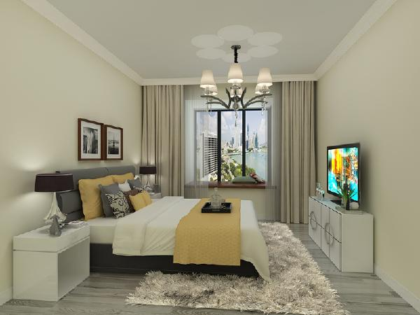 主卧 主卧采用和客厅一样的灰色地板,舒适安静,简单的电视柜与背景墙挂画增添生活气息。