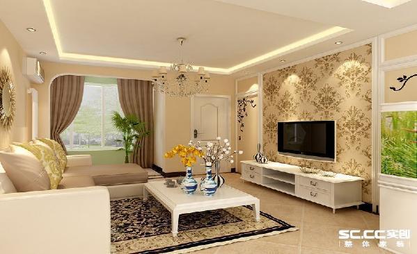 客厅在此套设计方案中运用了浅色为主题,斜铺的仿古地砖,配以欧式团花的壁纸和地毯,再加上神色的波打线,让整个空间更有家的温馨、舒适。