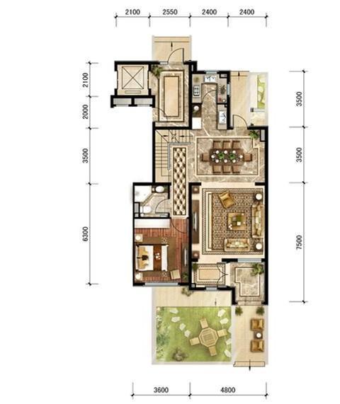 中建·红杉溪谷四室两厅两卫户型图