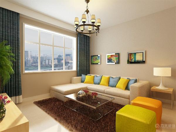 客厅采用了平顶,整个会客空间铺贴暖色壁纸。